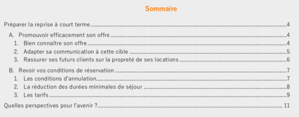 Sommaire guide reprise